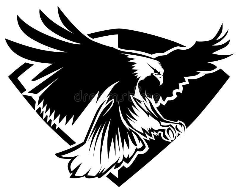förse med märke vektorn för örnlogomaskoten stock illustrationer