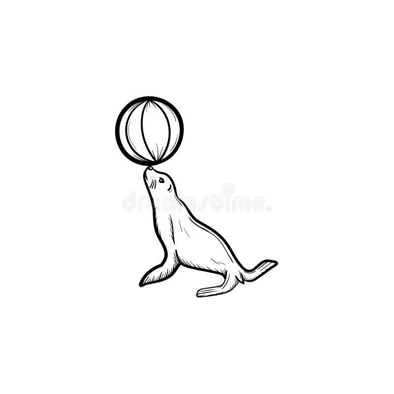 Försegla att spela med den drog bollhanden skissar symbolen stock illustrationer