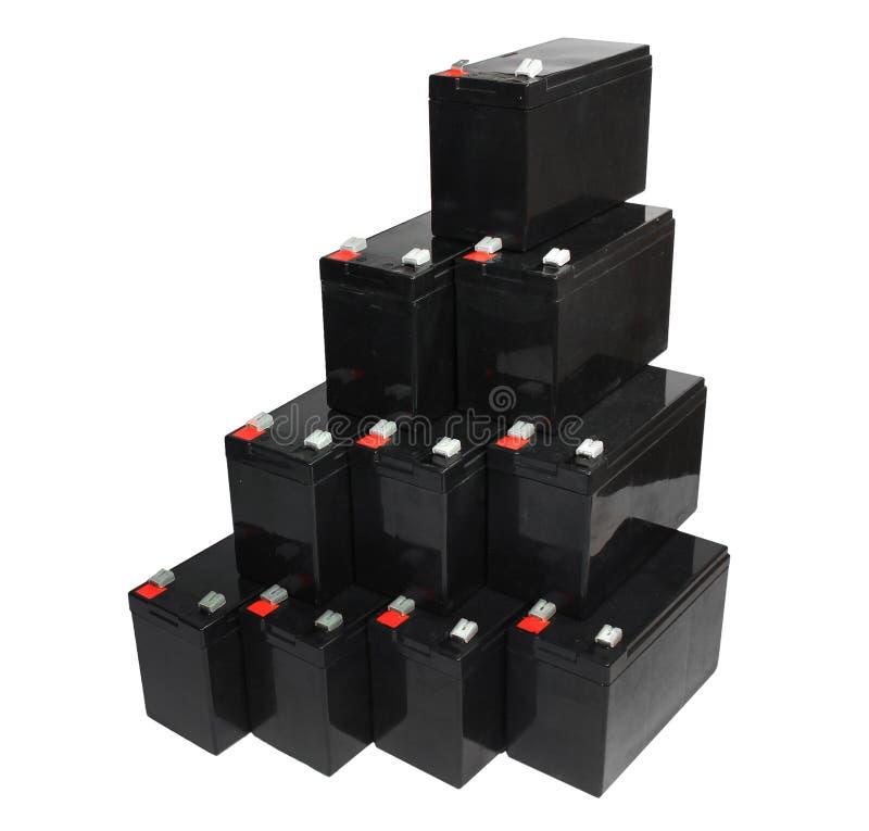 Förseglade batterier för ledningssyra på vit bakgrund arkivfoton