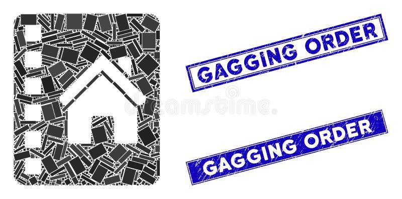 Förseglingar för stämpelstämpel för Realty Catalog Mosaic och Grunge Rectangle Gagging Order stock illustrationer