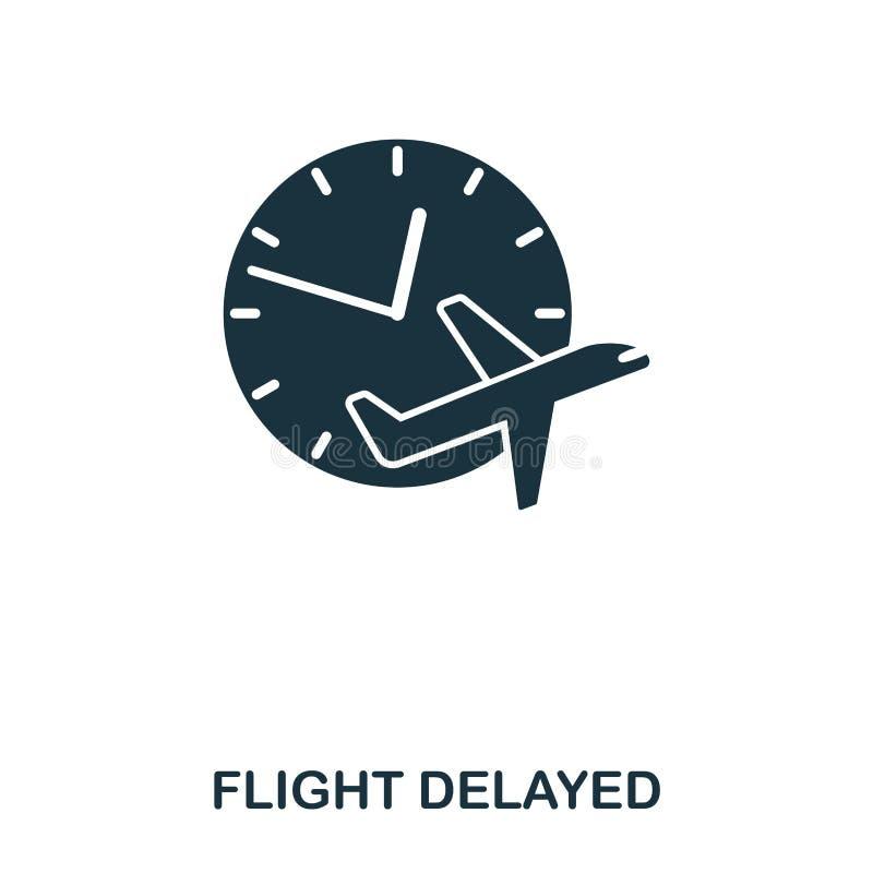 Försenad symbol för flyg Linje stilsymbolsdesign Ui Illustration av den försenade symbolen för flyg pictogram som isoleras på vit royaltyfri illustrationer