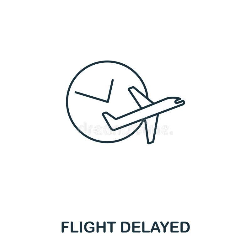 Försenad symbol för flyg Tunn linje stil för översikt från flygplatssymbolssamling Symbol för perfekt flyg för PIXEL försenad för stock illustrationer