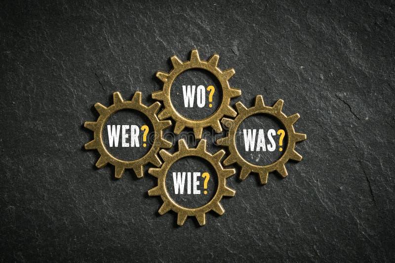 Förser med kuggar med ord`en som, hur, vad, var ` kritiserar på bakgrund i tysk arkivfoton
