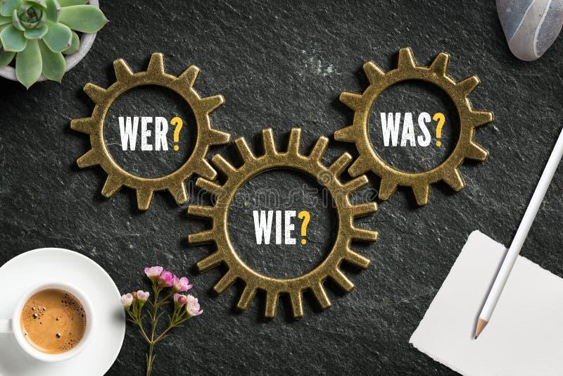 Förser med kuggar med ord`en som, hur, vilken ` kritiserar på bakgrund i tysk arkivbilder