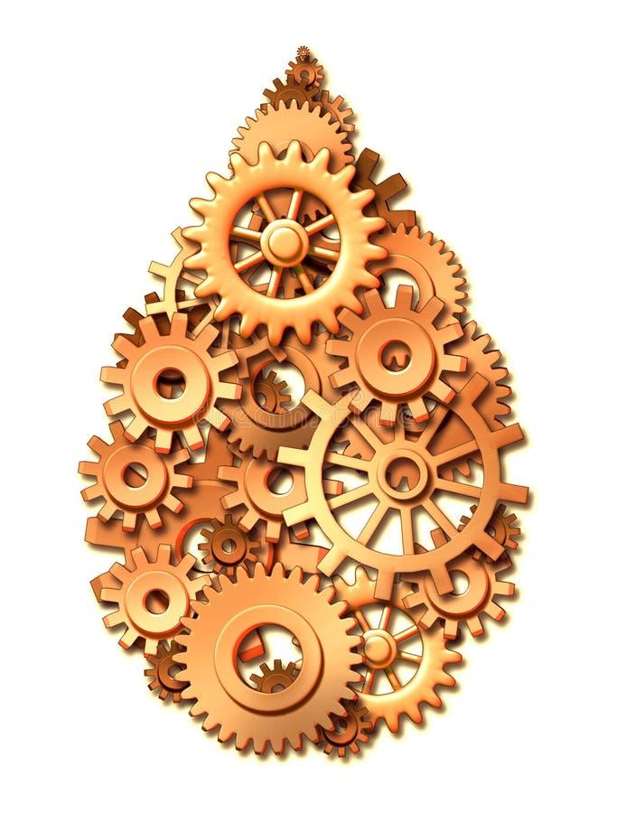 förser med kuggar symbol för ström för olja för energikugghjulindustri royaltyfri illustrationer