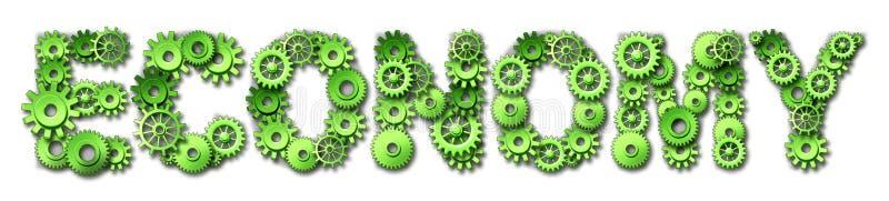 förser med kuggar text för symbolet för ekonomikugghjul grön stock illustrationer