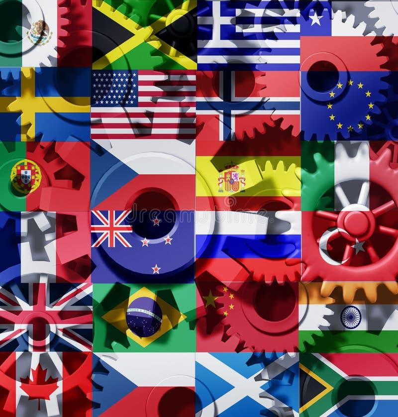 förser med kuggar världen för ekonomiinternationalhjul stock illustrationer