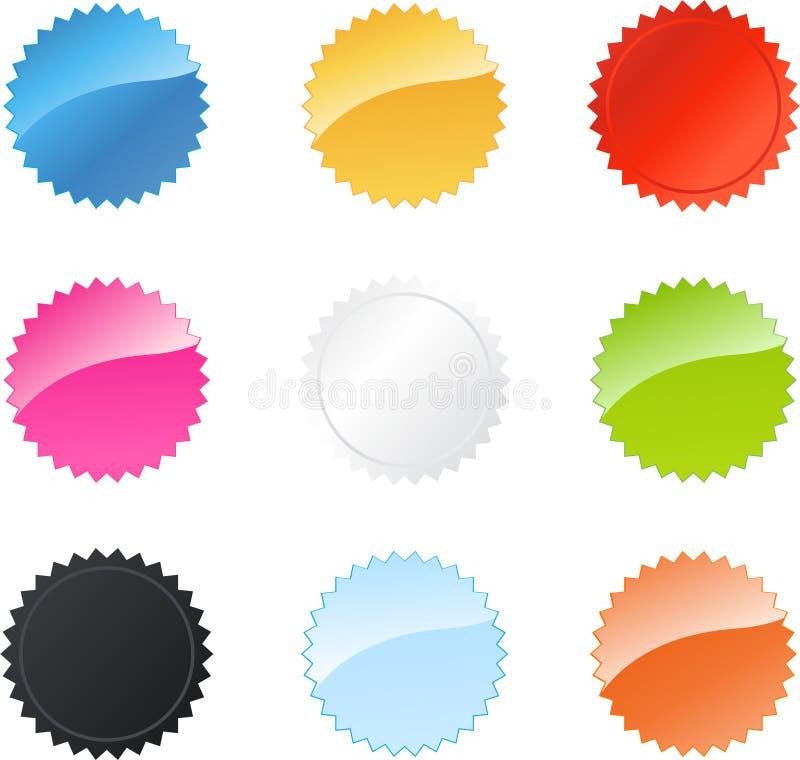 förser med märke den mångfärgade stjärnan stock illustrationer