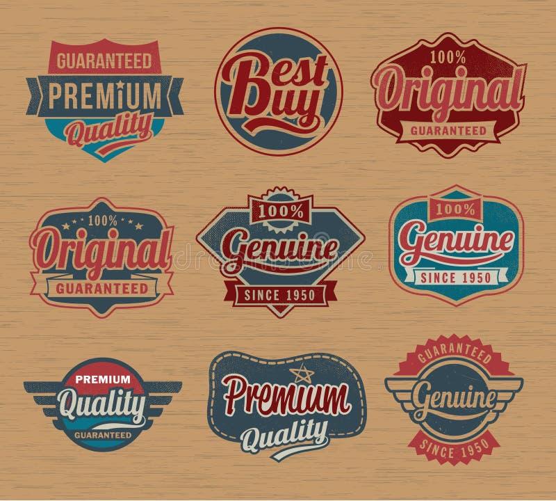 Förser med märke den retro etiketten för tappning - vektordesignbeståndsdelar royaltyfri illustrationer