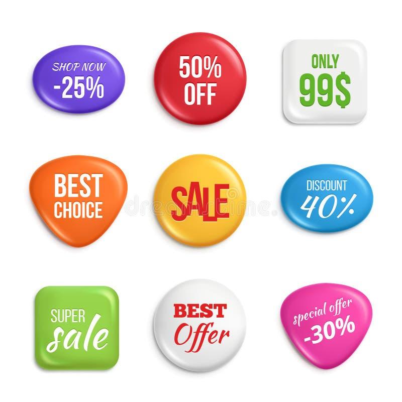 förser med märke försäljning Etiketter av bästa erbjudanden och försäljningar vektor illustrationer