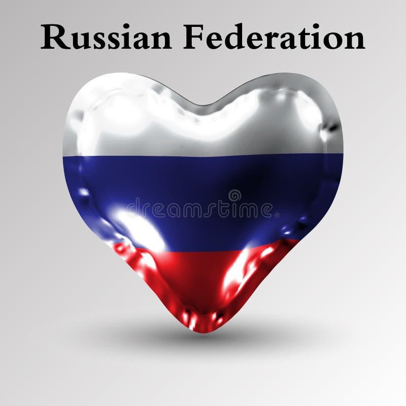 förser med märke utförda flaggadatalistan för länder den Europa Flaggan av rysk federation på en luftboll i form av en hjärta som royaltyfri illustrationer