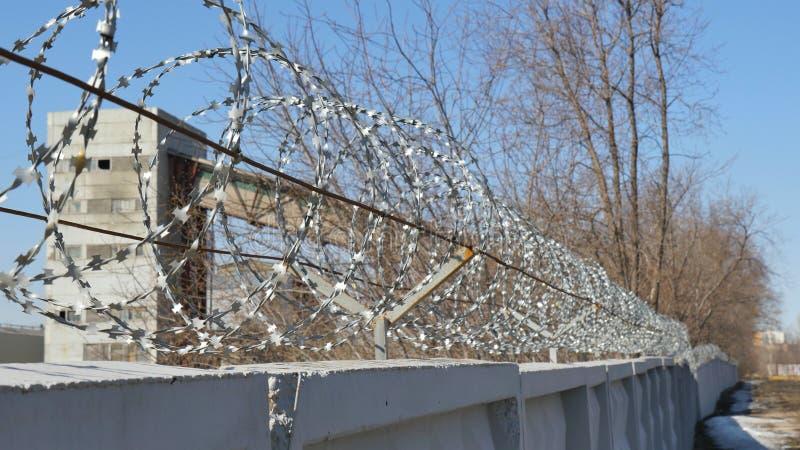 Försett med en hulling - binda Egoza på staketet på bakgrunden av en industriell lätthet royaltyfri fotografi