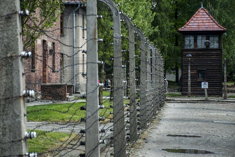 Försett med en hulling - binda tornkoncentrationsläger Auschwitz Birkenau KZ Polen 2 royaltyfria foton