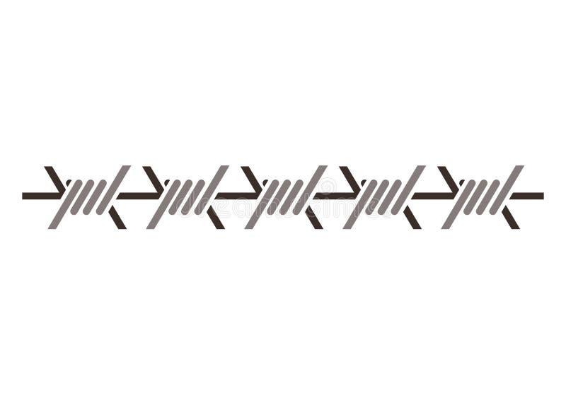 Försett med en hulling metalliskt för kontur - trådsymbol royaltyfri illustrationer