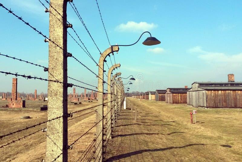 Försett med en hulling - trådkoncentrationsläger Auschwitz Birkenau fotografering för bildbyråer