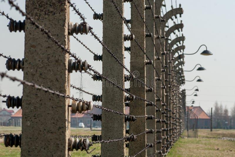 Försett med en hulling - trådstaket i den Auschwitz Birkenau koncentrationsläger royaltyfria bilder