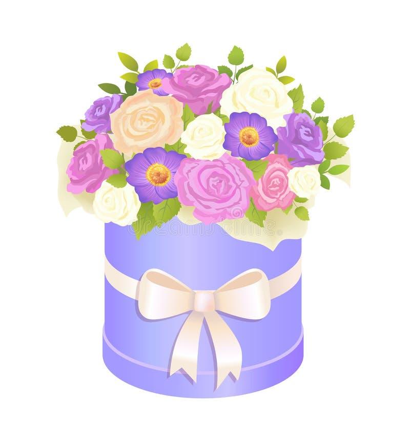 Försiktig bukett av rosa och Daisy Flowers Wrapping royaltyfri illustrationer