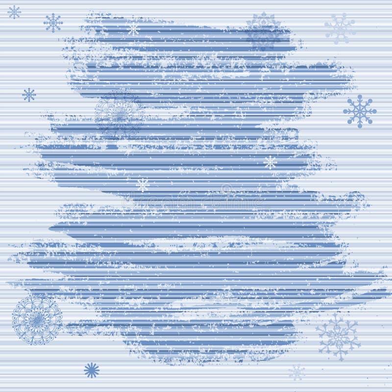 Försiktig grungejulram med blåa band och snöflingor vektor illustrationer