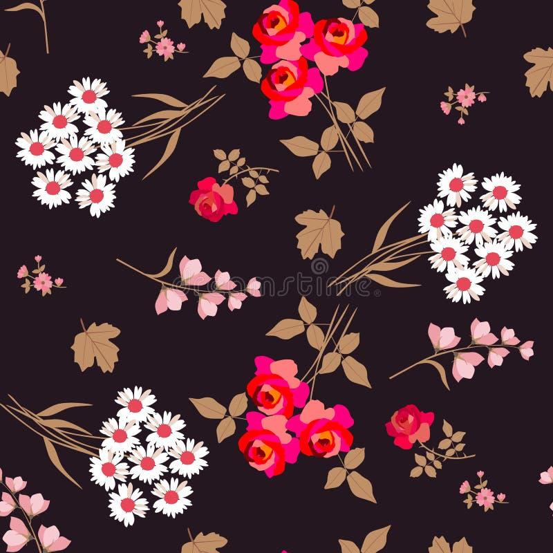Försiktig sömlös blom- modell med buketter av vita tusenskönor och röda rosor, klockablommor och sidor av viburnumen vektor stock illustrationer