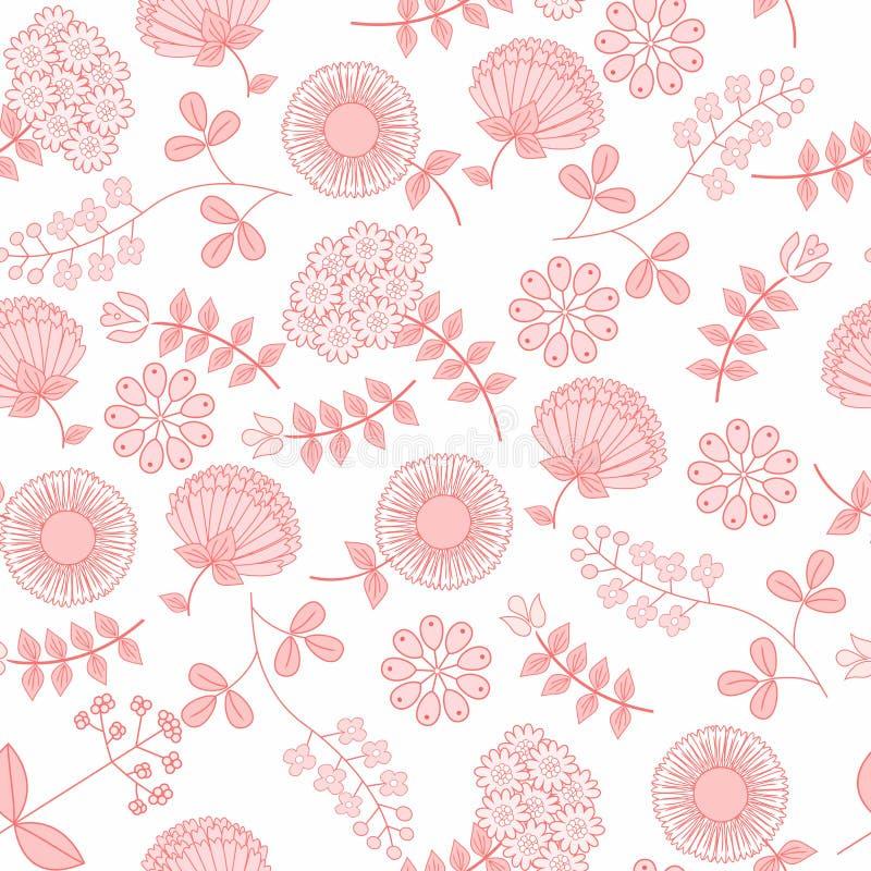 Försiktig sömlös modell med blommor Gullig enkel blom- prydnad Vektorillustration för tyg, scrapbooking papper och annat vektor illustrationer