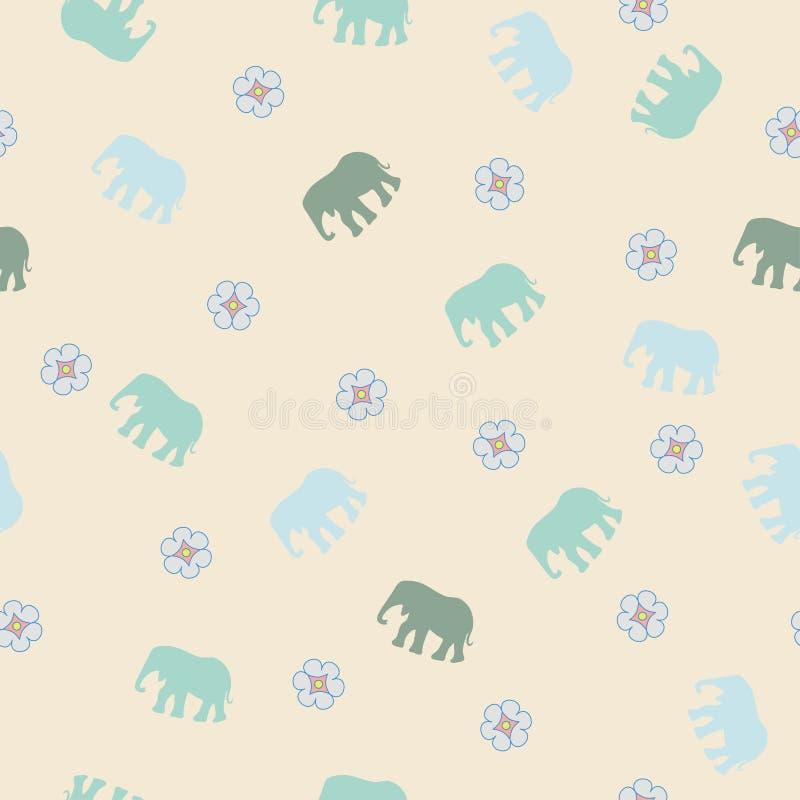 Försiktig sömlös modell med elefanten royaltyfri illustrationer