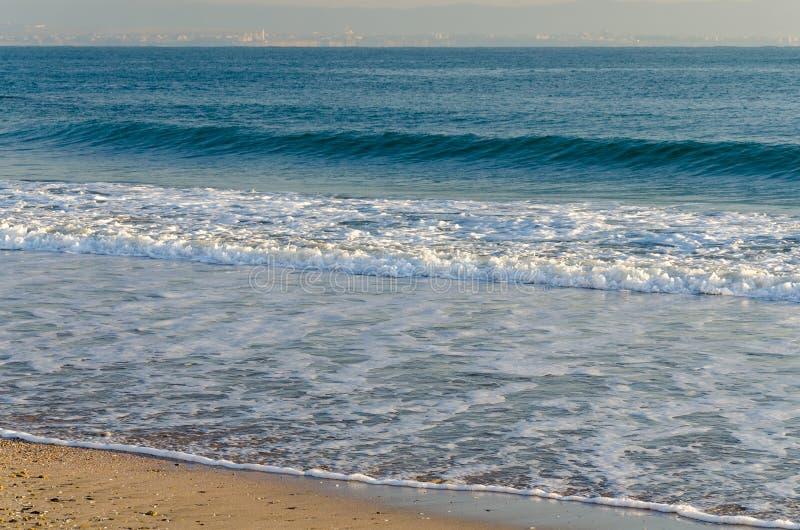 Försiktiga blåttvågor som sveper på den sandiga stranden royaltyfri fotografi