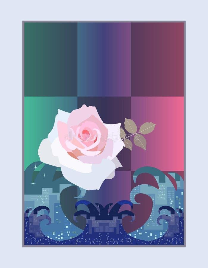 Försiktigt ljus - rosa färger steg över det rasa havet på en rutig bakgrund Vertikalt kort vektor illustrationer