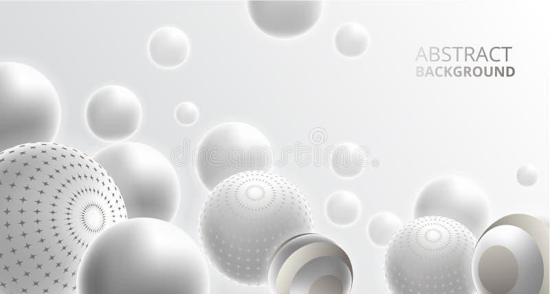 Försilvra bakgrund för garnering för den metalliska bollsfären för krom 3D abstrakt stock illustrationer