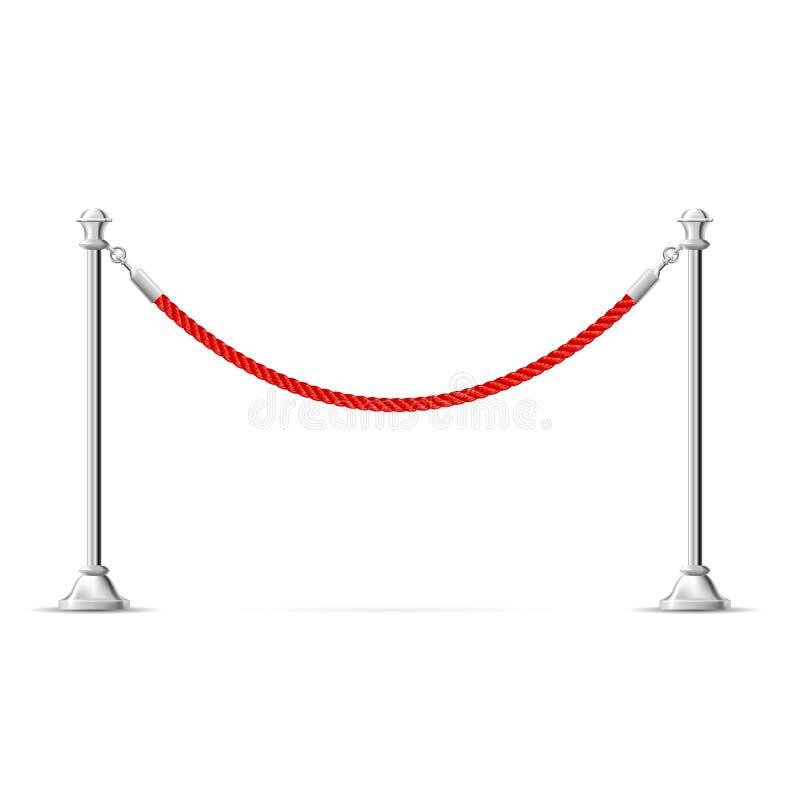 Försilvra barrikaden med det röda repet - barriärrepet, vip-zon stock illustrationer