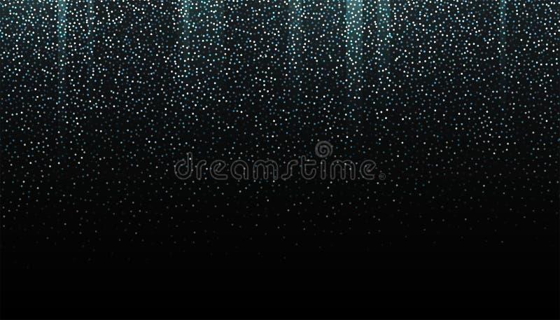 Försilvra blänker den sömlösa gränsen på svart bakgrund Blänka den fallande konfettibakgrunden Argent skimra textur för stock illustrationer
