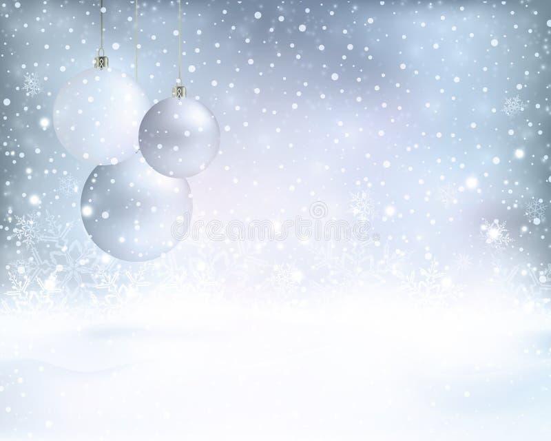 Försilvra blå julbakgrund med struntsaker och snöfall vektor illustrationer