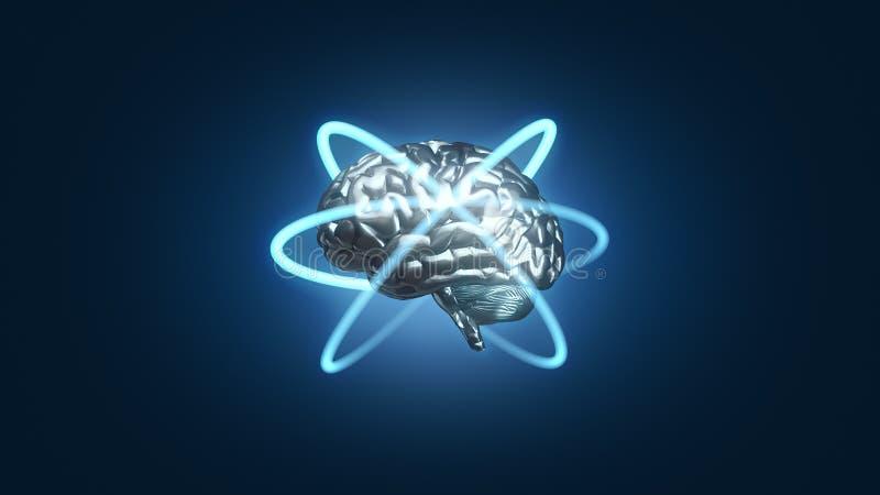 Försilvra den blåa metalliska hjärnan med atom- elektronbanor i omloppet - den 3D framförda illustrationen royaltyfri illustrationer