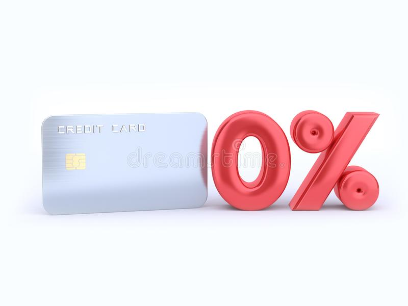Försilvra den tomma kreditkorten och den röda nollprocentreflexionen 3d för att framföra royaltyfri illustrationer