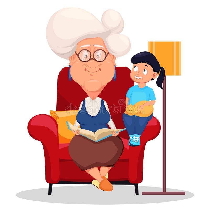 Försilvra haired mormorsammanträde i fåtölj och läsning en bok till hennes sondotter royaltyfri illustrationer