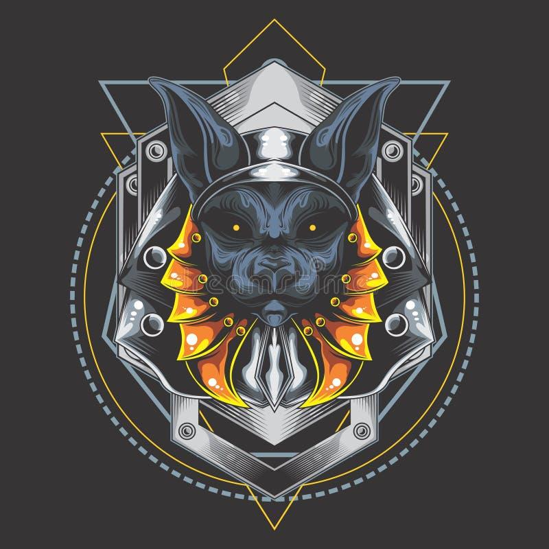 Försilvra harneskanubis vektor illustrationer