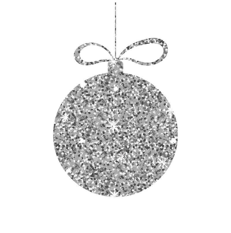 Försilvra jul klumpa ihop sig Blänka sfären med metallisk effekt Dekorativ mall för gnistrande Symbol av 2014 också vektor för co royaltyfri illustrationer