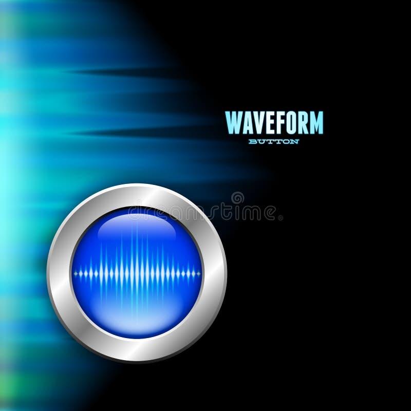Försilvra knappen med tecknet för den solida vågen och polart ljus stock illustrationer