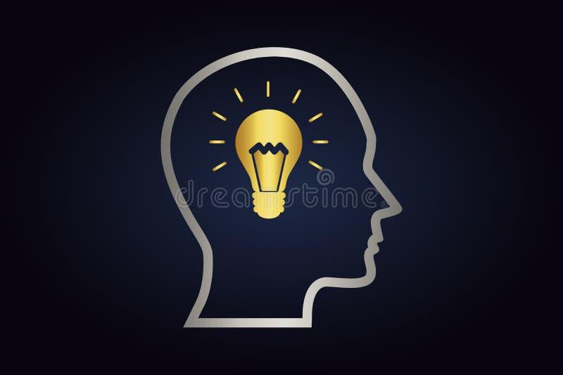 Försilvra konturn av huvudet med den guld- lightbulben inom royaltyfri illustrationer