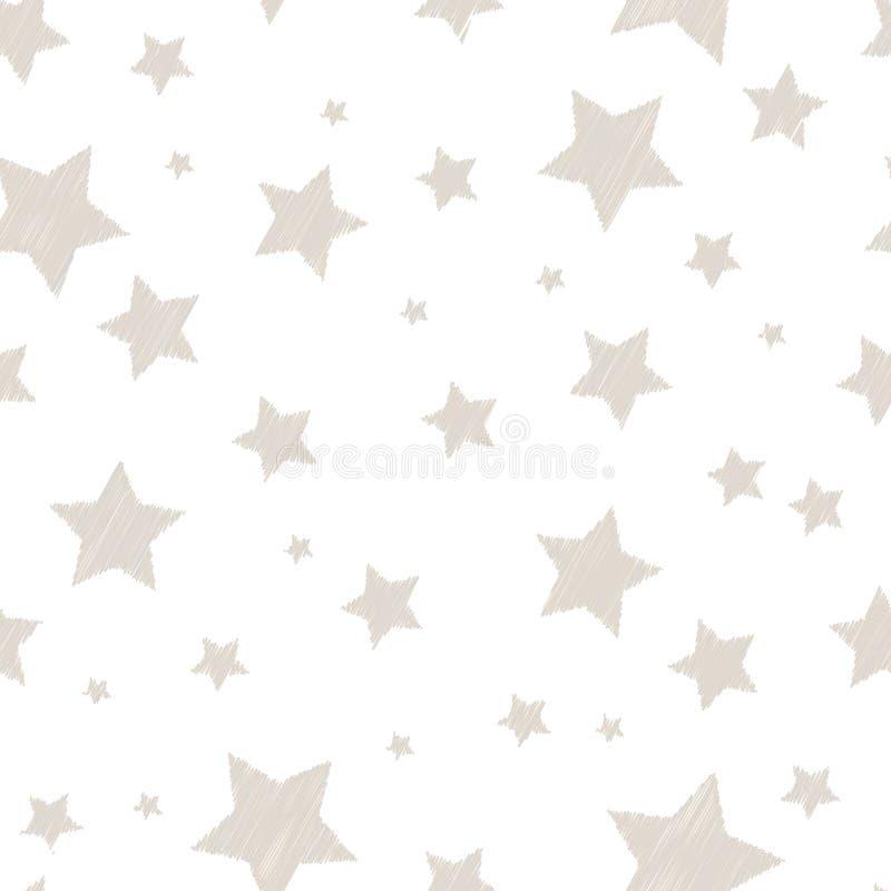 Försilvra kulöra enkla broderade stjärnor på den vita gulliga barnsliga sömlösa modellen, vektor stock illustrationer