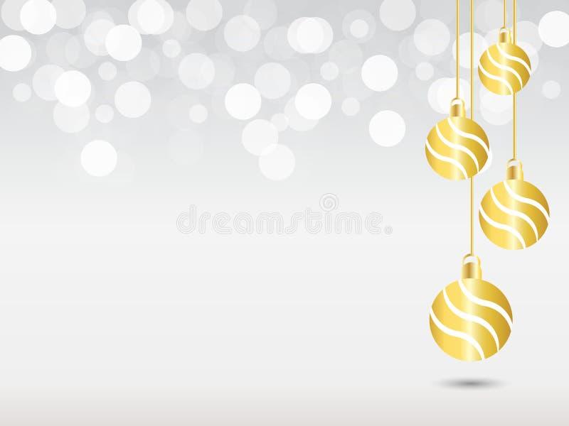 Försilvra lutningbakgrund med vitt bokehljus Julbakgrund med hängande gul bollgarnering för band tre stock illustrationer