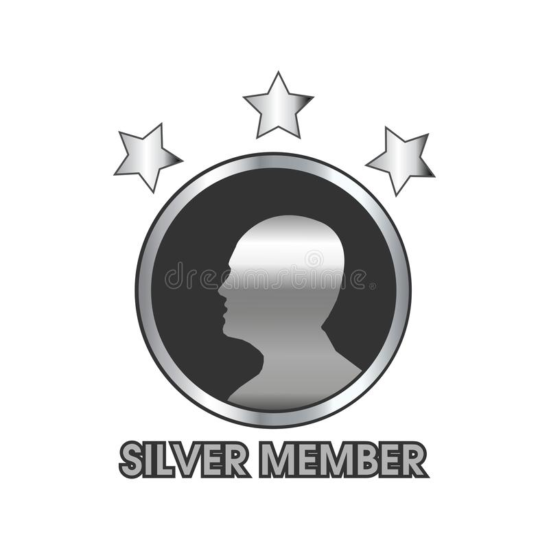Försilvra medlemmen med människa- och stjärnasymbolen, rengöringsduksymbol royaltyfri illustrationer