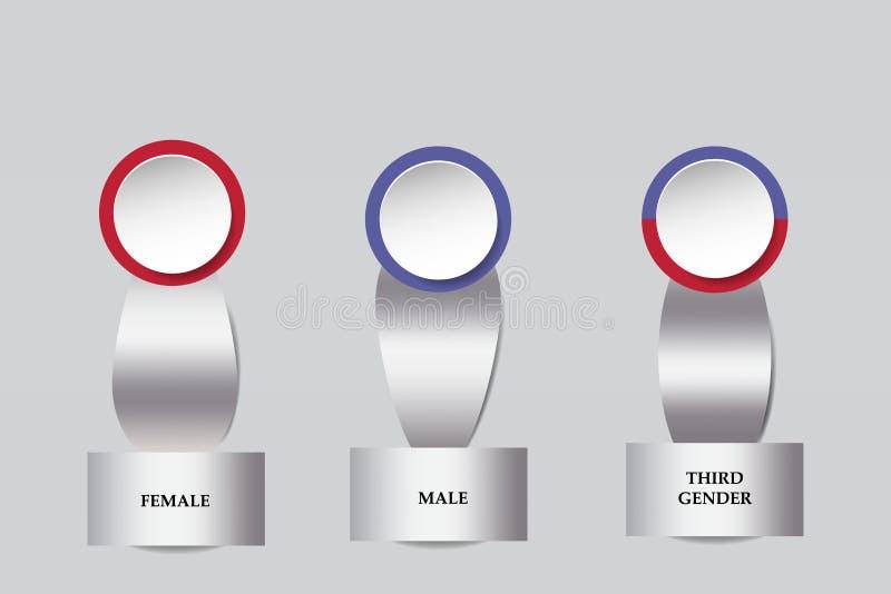 Försilvra metalliska infographs som visar mannen, kvinnlign och den tredje genuset stock illustrationer