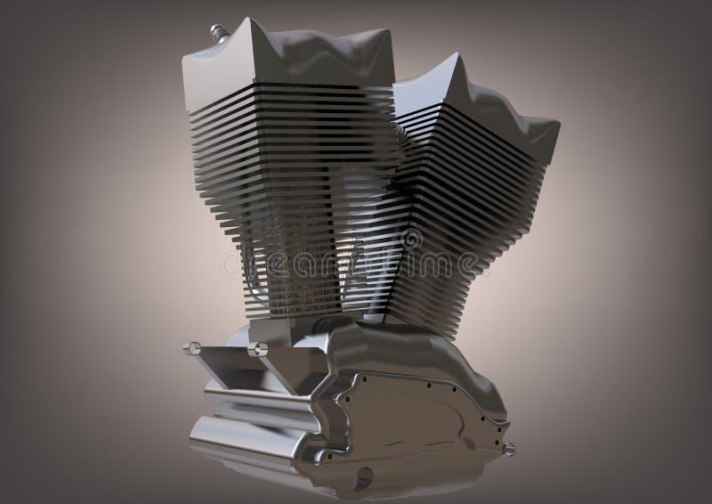 Försilvra motorn av en motorcykel på en grå färg vektor illustrationer