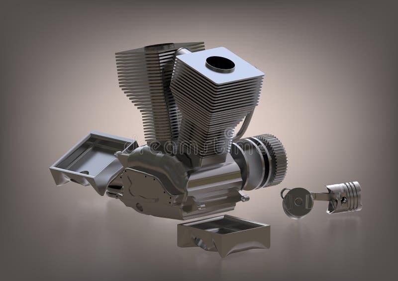 Försilvra motorn av en motorcykel på en grå färg stock illustrationer