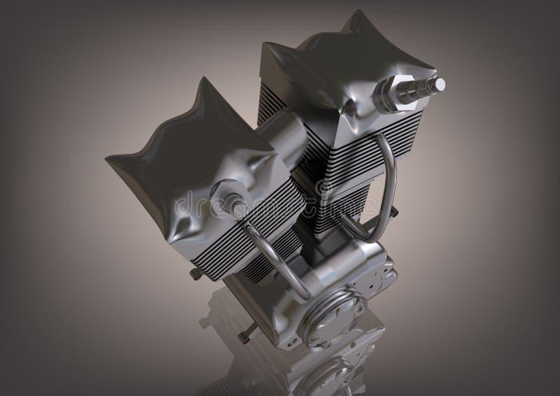 Försilvra motorn av en motorcykel på en grå färg royaltyfri illustrationer