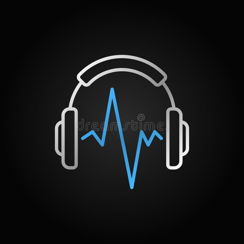 Försilvra musikhörlurar med den blåa symbolen för vektorn för den solida vågen vektor illustrationer