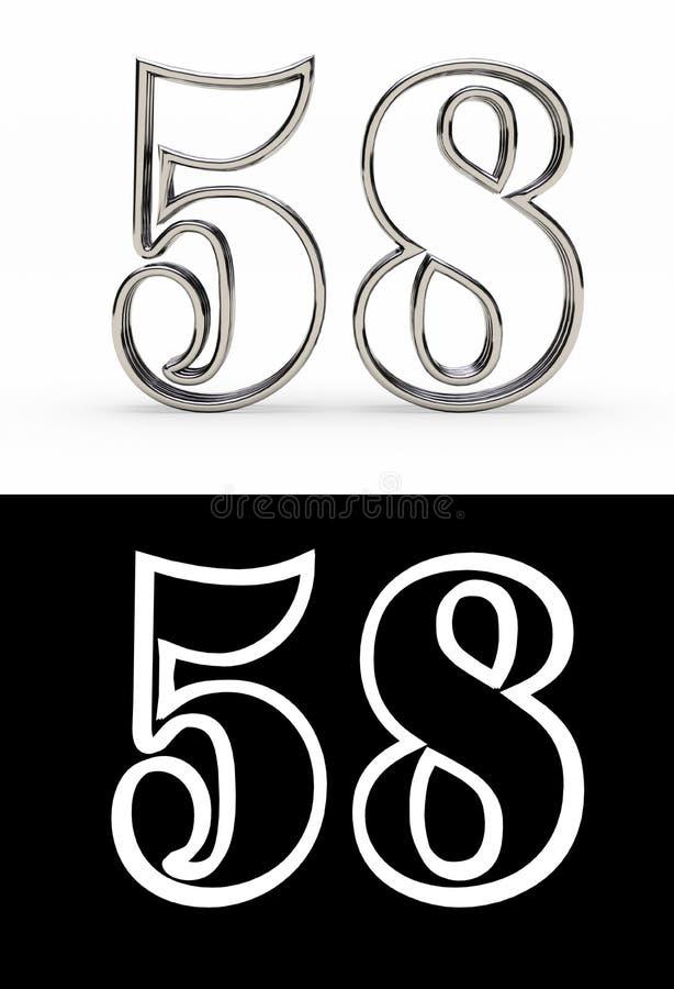 Försilvra numret femtioåtta år vektor illustrationer