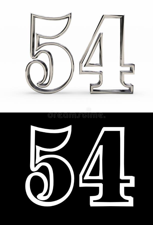 Försilvra numret femtiofyra år vektor illustrationer