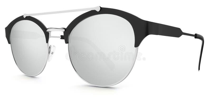 Försilvra och svärta argent spegellinser för solglasögon på whi royaltyfri illustrationer