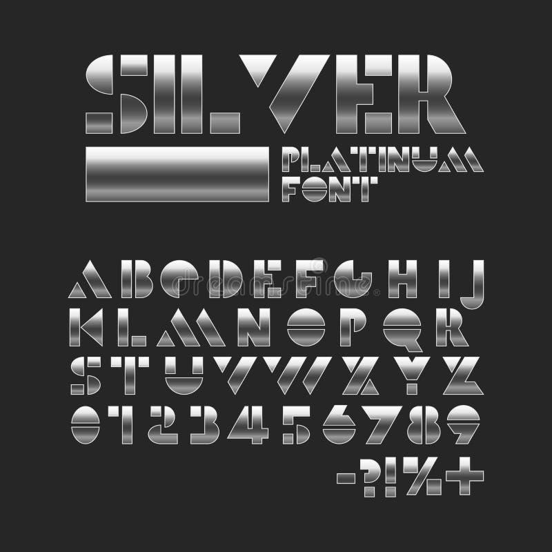 Försilvra platinastencilstilsorten Metalliskt skinande alfabet Geometriska bokstäver och nummer vektor illustrationer